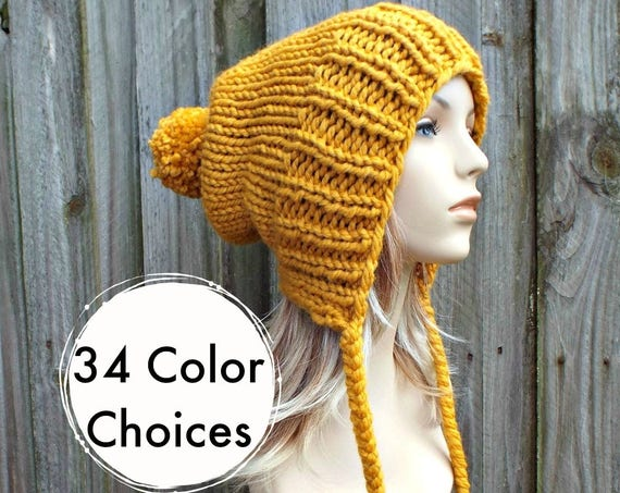 Chunky Knit Hat Women Mustard Hat Mustard Beanie - Charlotte Slouchy Ear Flap Hat - Knit Accessories Gift For Her