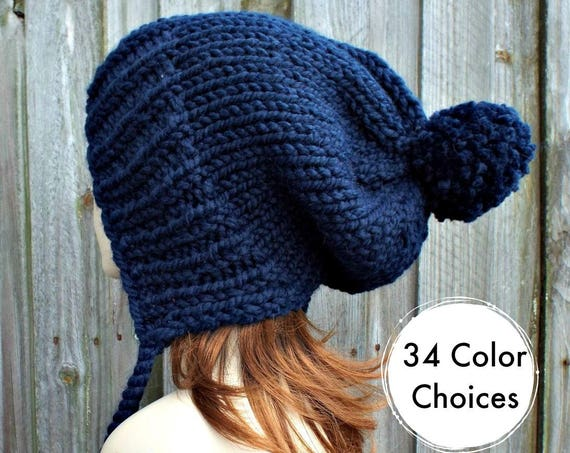 Womens Pom Pom Hat - Navy Blue Slouchy Hat Knit Ear Flap Beanie with Pom Pom - Charlotte