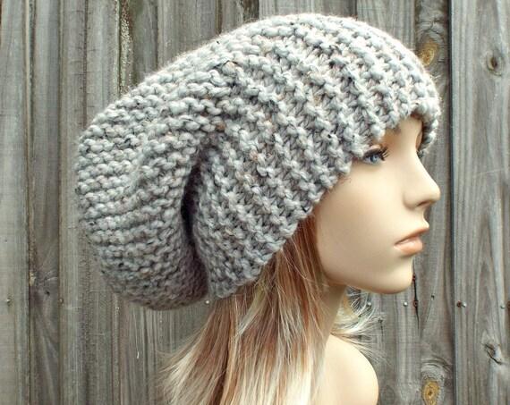 Light Grey Mens Hat Grey Womens Hat Slouchy Beanie - Slouchy Hat Grey Knit Hat - Grey Hat Grey Beanie Grey Tweed Hat - READY TO SHIP