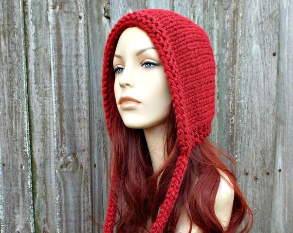 Russet Red Knit Hat - Red Aviator Hood Adult Bonnet - Red Hood with Ties - Womens Winter Hat Red Hat Red Aviator Hat Red Knit Hood