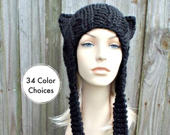 Black Ear Flap Cat Hat - Black Knit Hat Black Hat Black Cat Hat Black Beanie Chunky Knit Hat Womens Winter Hat