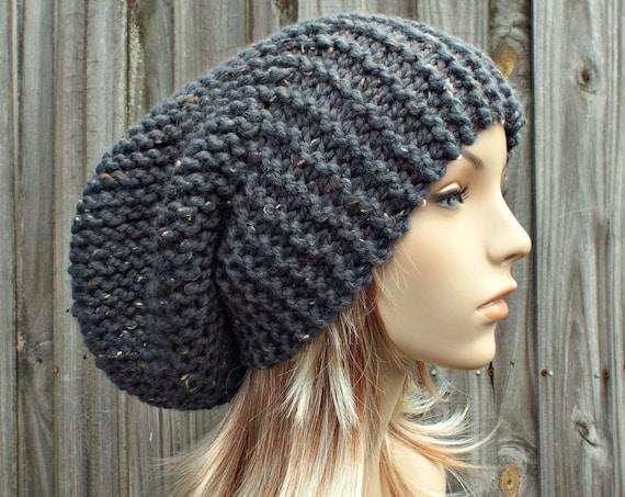 Grey Mens Hat Grey Womens Hat Grey Slouchy Beanie - Slouchy Hat Tweed Graphite Grey Knit Hat - Grey Hat Grey Beanie - READY TO SHIP