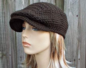 be95dc48190172 Dunkle Schokolade braun Häkelmütze Golf - Damen oder Herren Newsboy flache  Kappe