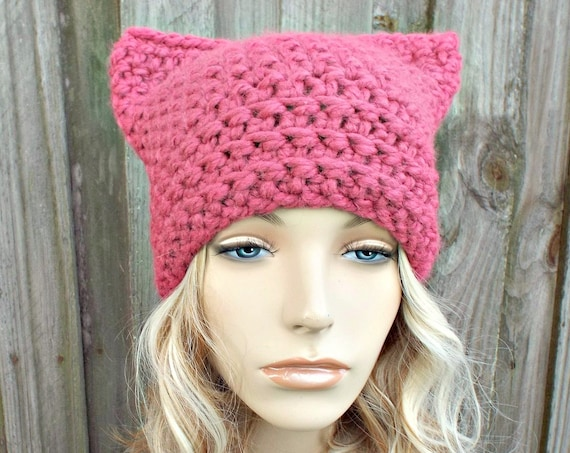 Pink Cat Hat - Thermal Crochet Womens Winter Beanie in Raspberry - Pink Pussyhat Project Pink Pussy Hat