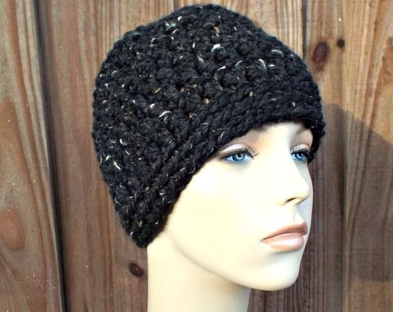 Obsidian Black Messy Bun Beanie - Messy Bun Crochet Hat Women Ponytail Beanie - Top Knot Hat - Womens Hat Winter Hat