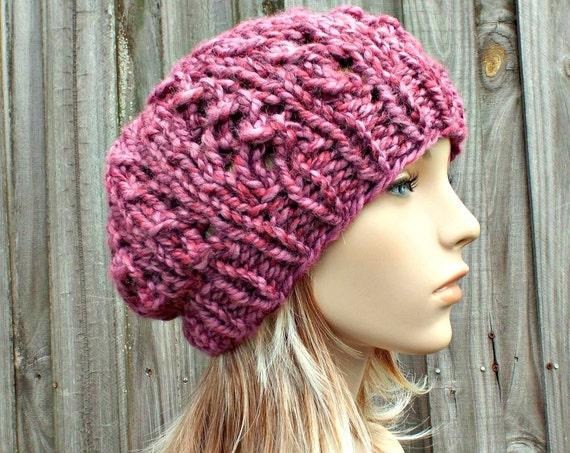 Knit Hat Womens Hat Slouchy Beanie Slouchy Hat - Wisteria Beanie in Wild Strawberry Pink Hat Pink Beanie Womens Accessories