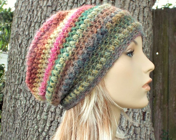 Crochet Hat Womens Hat - Penelope Puff Stitch Slouchy Beanie Hat - Strawberry Fields Pink Hat Green Hat - Winter Hat