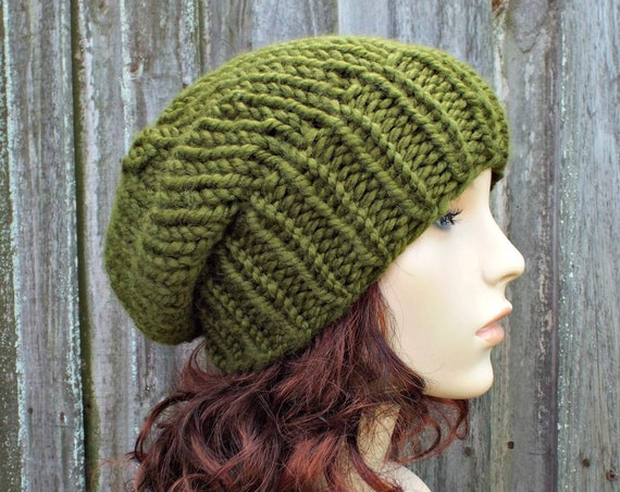 Chunky Knit Hat Womens Warm Winter Hat Knit Accessories - Adaline Slouchy Beanie - Olive Green Hat Olive Green Beanie