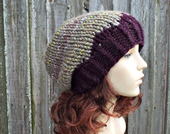 Womens Chunky Knit Hat Fall Fashion Warm Winter Hat Knit Accessories Slouchy Beanie in Taupe Stripes Urban Camo and Eggplant - READY TO SHIP