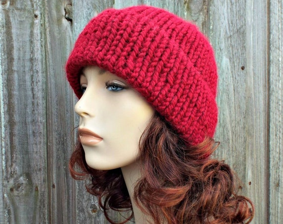 Double Thick Brim Knit Hat - Cranberry Red Mens or Womens Hat Red Beanie - Warm Hat Thick Winter Beanie - Red Hat Red Beanie