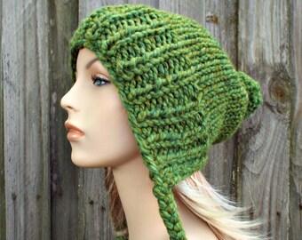 Green Slouchy Hat Womens Hat - Green Hat Green Beanie Green Slouchy Beanie - Charlotte Slouchy Ear Flap Hat With Pom Pom - Pom Pom Hat