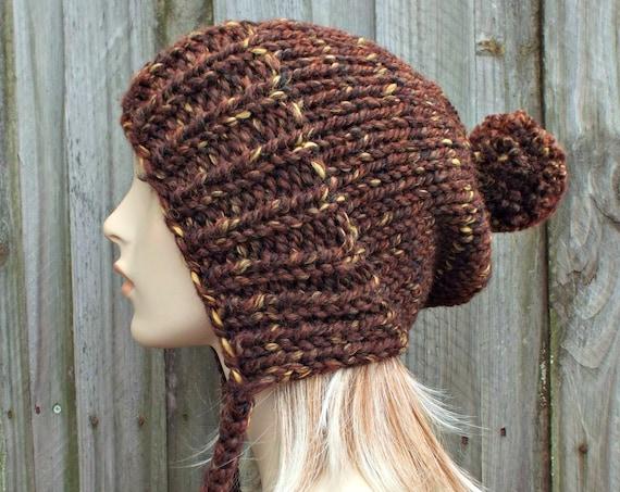 Womens Pom Pom Hat - Sequoia Brown Slouchy Hat Brown Knit Hat Brown Hat Brown Beanie - Charlotte Slouchy Ear Flap Hat