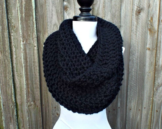 Circle Scarf Infinity Scarf Oversized Cowl Scarf - Vermonter Infinity Cowl  - Black Scarf Black Cowl Womens Accessories