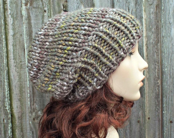 Womens Chunky Knit Hat Fall Fashion Warm Winter Hat Knit Accessories Adaline Slouchy Beanie in Taupe Stripes Urban Camo