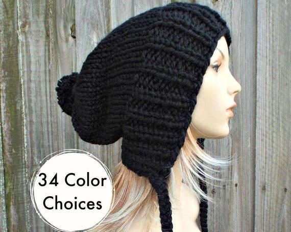 Womens Pom Pom Hat Black Slouchy Hat Knit Hat Black Hat Black Slouchy Beanie - Charlotte - Black Winter Hat