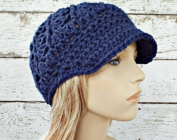 Crochet Hat Womens Hat Blue Hat Blue Newsboy Hat - Pippa Swirl Hat in Night Sky Navy Blue - Blue Beanie Womens Accessories