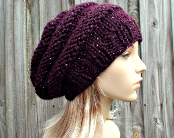 Knit Hat Womens Hat - Original Beehive Beret Hat in Galaxy Metallic Eggplant Purple Knit Hat - Purple Hat Purple Beret Purple Beanie