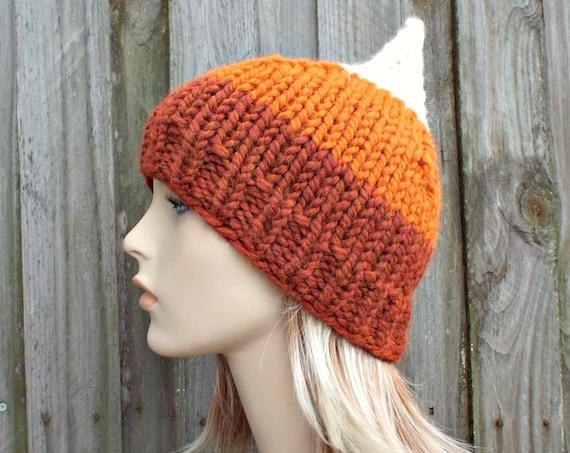 Orange Gnome Hat Orange Hat Orange Womens Hat - Cream Pumpkin Spice Orange Knit Hat - Orange Beanie Orange Winter Hat - READY TO SHIP