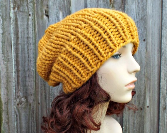 Chunky Knit Hat Womens Warm Winter Hat Knit Accessories - Adaline Slouchy Beanie - Yellow Mustard Hat Mustard Beanie