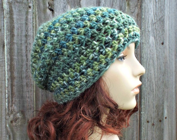 Crochet Hat Womens Hat Slouchy Beanie in Moss Green - Green Hat Green Beanie Winter Hat Fall Fashion Womens Accessories - READY TO SHIP
