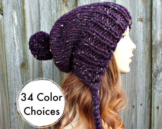 Tweed Purple Slouchy Knit Hat Winter Hat - Womens Ear Flap Beanie Pom Pom Hat - Charlotte - Purple Hat Purple Beanie