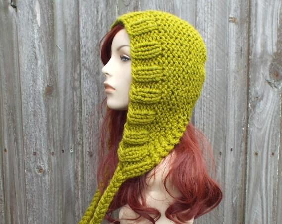 Lemongrass Green Chunky Knit Hat Womens Green Hat Green Hood Green Ear Flap Hat - Green Knit Hat - Womens Accessories