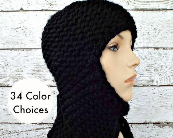 Black Knit Hat Black Womens Hat - Black Ear Flap Hat Garter Nomad Scarf Hat - Black Hat Black Scarf Winter Hat