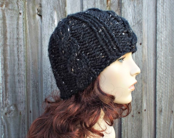 Chunky Knit Hat Mens Hat Womens Hat - Tristan Cable Beanie in Obsidian Black Knit Hat - Black Hat Black Beanie Winter Hat - READY TO SHIP