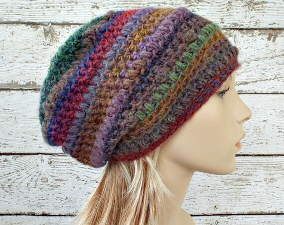 Crochet Hat Womens Hat - Penelope Puff Stitch Slouchy Beanie Hat - Wildflower Red Hat Blue Hat Green Hat - Winter Hat - READY TO SHIP