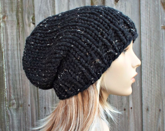 Chunky Tweed Black Slouchy Beanie - Mens or Womens Knit Winter Hat - Toque