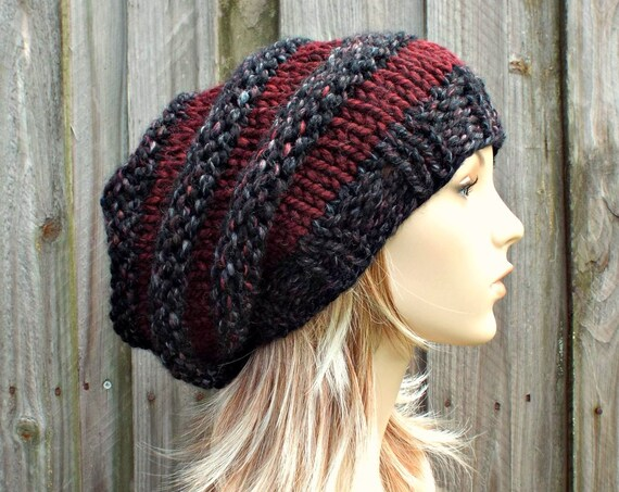 Knit Hat Womens Hat Slouchy Beanie - Oversized Beehive Beret Hat in Blackstone Wine Knit Hat - Black Hat Grey Hat WIne Hat Red Hat