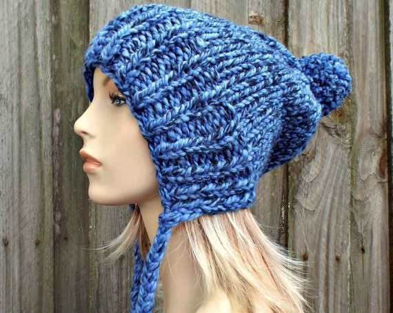 Acai Blue Slouchy Hat Blue Knit Hat Blue Womens Hat Blue Hat Blue Beanie - Charlotte Slouchy Ear Flap Hat
