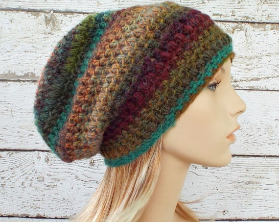 Crochet Hat Womens Hat - Puff Stitch Slouchy Beanie Hat - Rust Teal Wine Arcadia - Womens Accessories Winter Hat