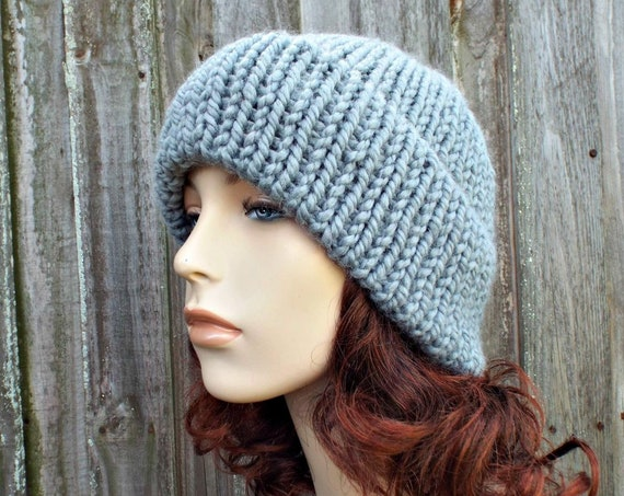 Double Thick Brim Knit Hat - Grey Mens or Womens Hat Slate Grey Beanie - Warm Hat Thick Winter Beanie - Grey Hat Grey Beanie - READY TO SHIP