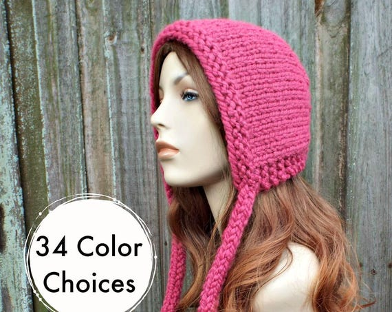 Raspberry Pink Knit Hat - Aviator Adult Bonnet - Hood with Ties - Womens Winter Hat