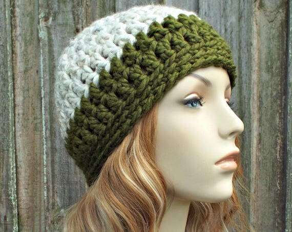 Wheat and Olive Beanie - Olive Green Crochet Hat Green Womens Hat Green Mens Hat - Green Hat Warm Winter Hat - READY TO SHIP