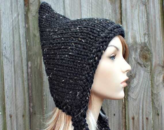 Obsidian Tweed Black Pixie Hat Black Womens Hat - Black Knit Hat - Black Hat Black Winter Hat Black Tweed Hat Black Hood