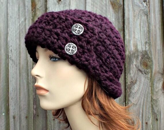 Garbo Cloche Hat - Eggplant Purple Hat - Crochet Hat Womens Hat 1920s Flapper Hat - Eggplant Hat Womens Accessories