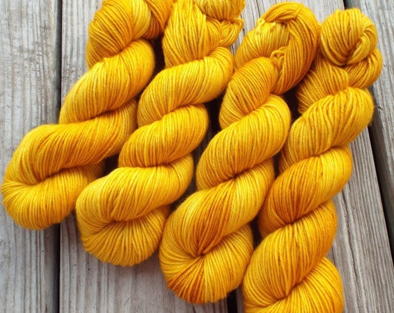 Hand Dyed Yarn - Hand Dyed DK Weight Yarn 100% Superwash Merino Yarn 4 Ply - 231 Yards - Yellow Tonal Yarn Semisolid Yellow Yarn - Marigold