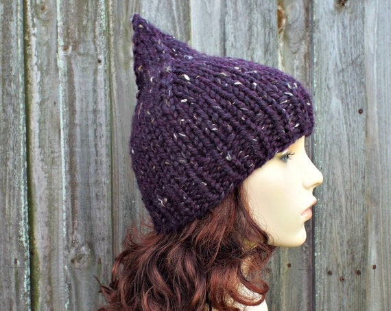 Chunky Knit Hat Purple Womens Hat - Tweed Purple Gnome Hat Knit Hat - Purple Hat Purple Beanie Womens Accessories Winter Hat - READY TO SHIP