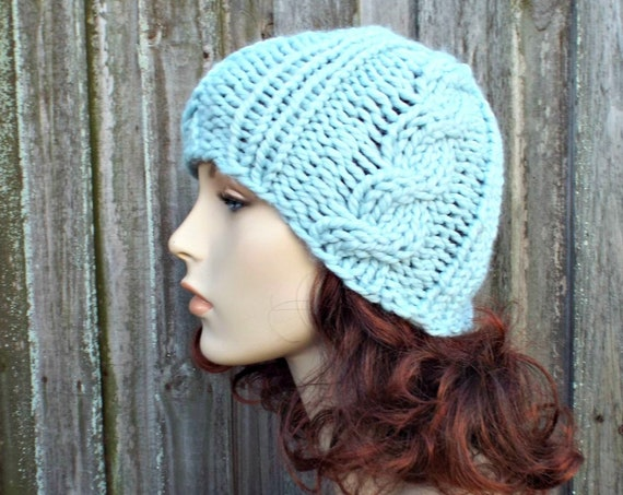 Chunky Knit Hat Mens Hat Womens Hat - Tristan Cable Beanie in Glacier Blue Knit Hat - Blue Hat Blue Beanie Winter Hat - READY TO SHIP