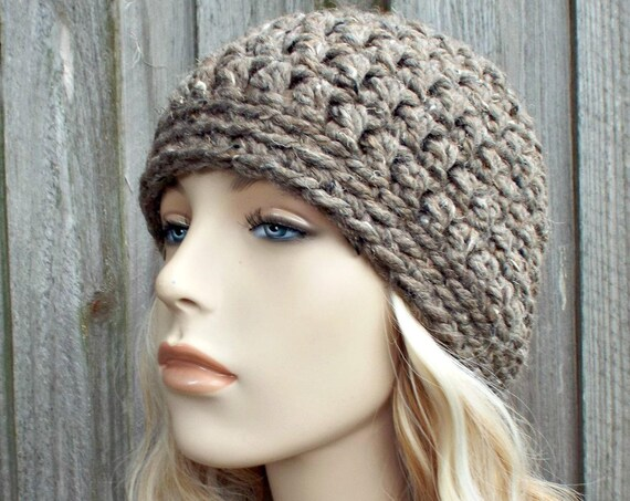 Barley Tweed Taupe Brown Beanie - Crochet Womens Hat Mens Hat - Warm Winter Hat - READY TO SHIP