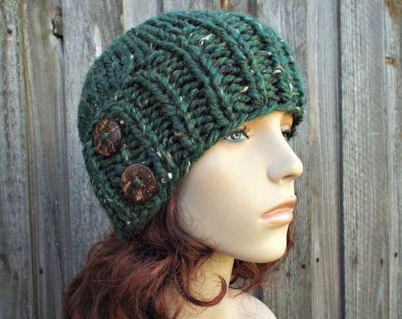 Chunky Knit Hat Womens Beanie Tweed Green Knit Hat - Green Hat Green Beanie Green Winter Hat - Lydia Fitted Beanie - READY TO SHIP