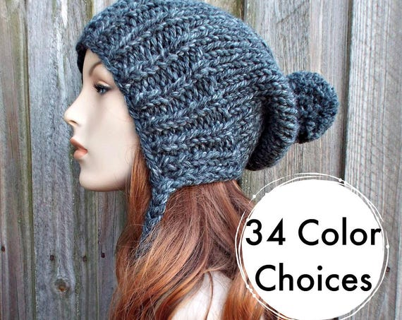 Chunky Knit Hat Women Grey Hat Grey Beanie - Charlotte Slouchy Ear Flap Hat - Knit Accessories Gift For Women