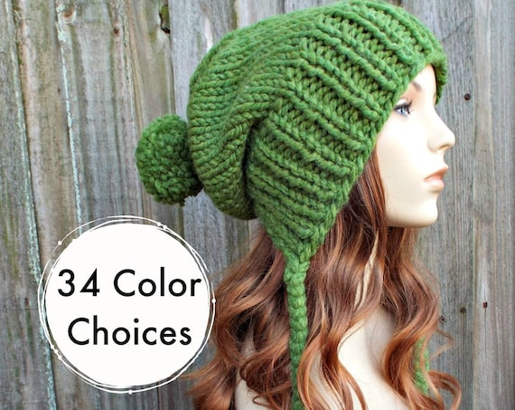 Grass Green Chunky Knit Hat Womens Hat - Green Hat Green Beanie Green Slouchy Beanie - Charlotte - Womens Pom Pom Hat