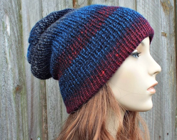 Double Knit Hat Red and Blue Womens Beanie, Mens Beanie Reversible Winter Hat - Blue Hat Blue Beanie Knit Hat Women - READY TO SHIP