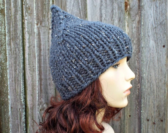 Chunky Knit Hat Grey Womens Hat - Graphite Grey Gnome Hat Knit Hat - Grey Hat Grey Beanie Womens Accessories Winter Hat