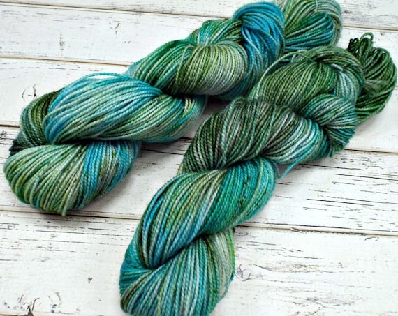 Hand Dyed Sock Yarn Superwash Wool Nylon 80/20 Fingering Weight Yarn Sock Yarn 50 Grams - Aqua Green Speckled Yarn - Siren Song