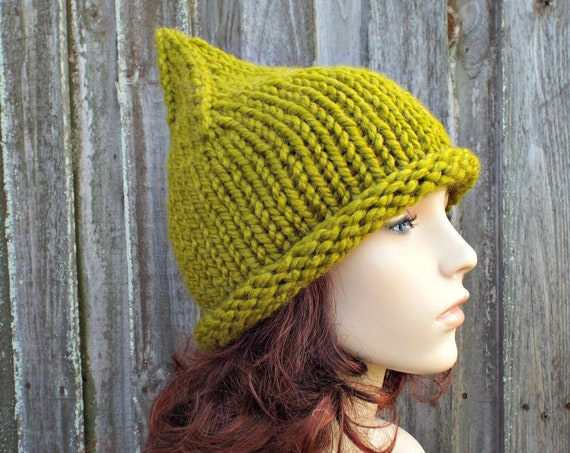 Lemongrass Green Witch Hat Green Gnome Hat Green Knit Hat - Chunky Knit Hat Womens Green Hat Green Winter Hat Fall Fashion
