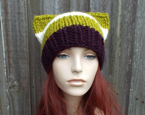 Color Block Suffragette Cat Hat - Womens Winter Knit Beanie in Purple, Cream and Lemongrass - Suffragette Pussyhat Suffrage Movement